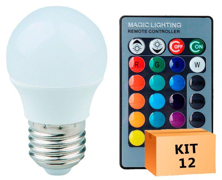 Kit 12 Lâmpada LED Bulbo Bolinha 03W RGB