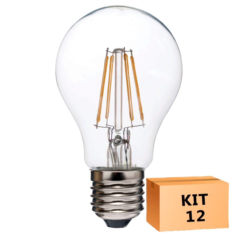 Kit 12 Lâmpada LED Filamento 4W Bulbo A60 Âmbar E27