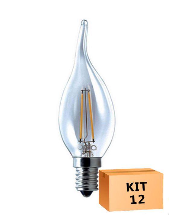 Kit 12 Lâmpada LED Filamento 4W Vela Âmbar E14