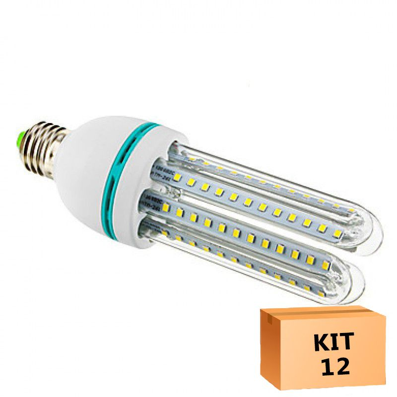 Kit 12 Lâmpada Led Milho 12W Branco Quente