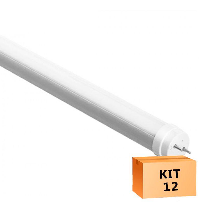 Kit 12 Lâmpada Led Tubular T5 08W 55 cm bivolt - Branco Frio