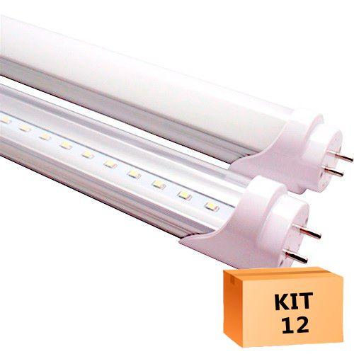 Kit 12 Lâmpada Led Tubular T8 09W 60 cm bivolt Branco Quente