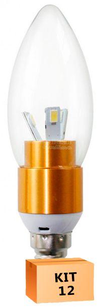 Kit 12 Lâmpada Led Vela 03W Soquete E14 Branco Quente