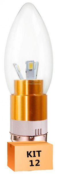 Kit 12 Lâmpada Led Vela 03W Soquete E27 Branco Quente