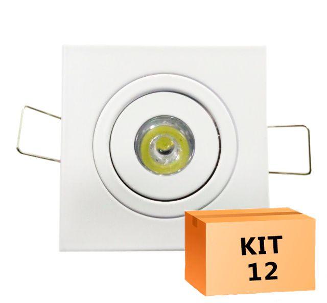 Kit 12 Mini Spot Led Direcionável Quadrado 1W Quente 3000K