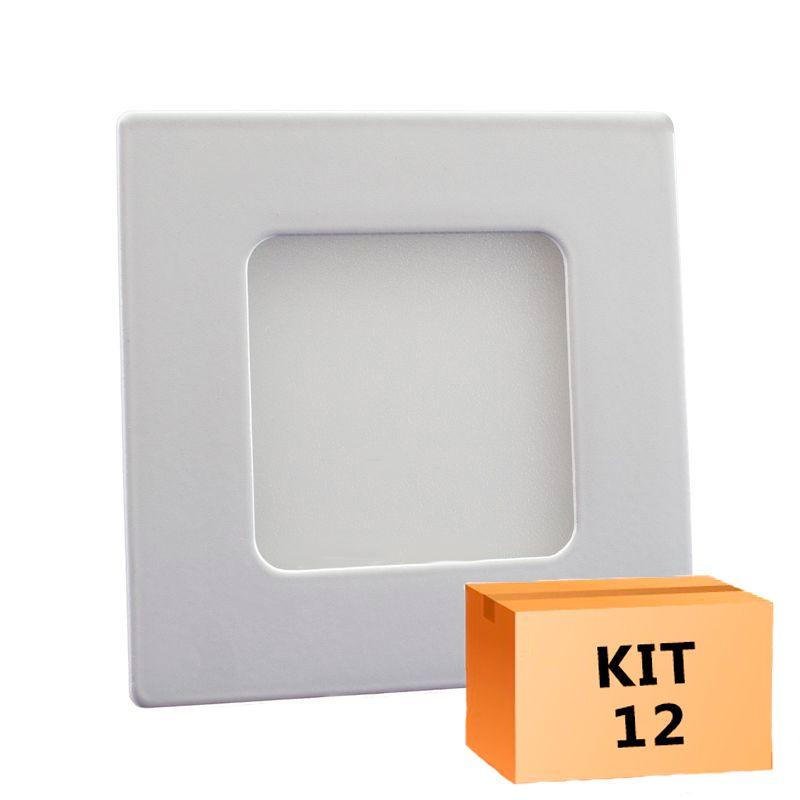 Kit 12 Plafon Led de Embutir Quadrado  03W - 08 x 08 cm Quente 3000K