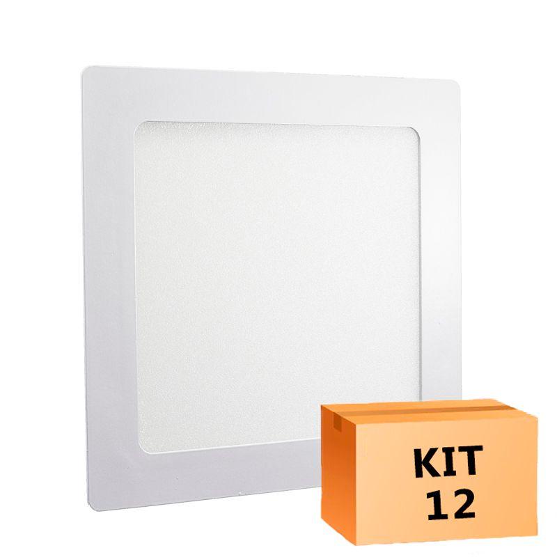 Kit 12 Plafon Led de Embutir Quadrado  12W - 17 x 17 cm Quente 3000K