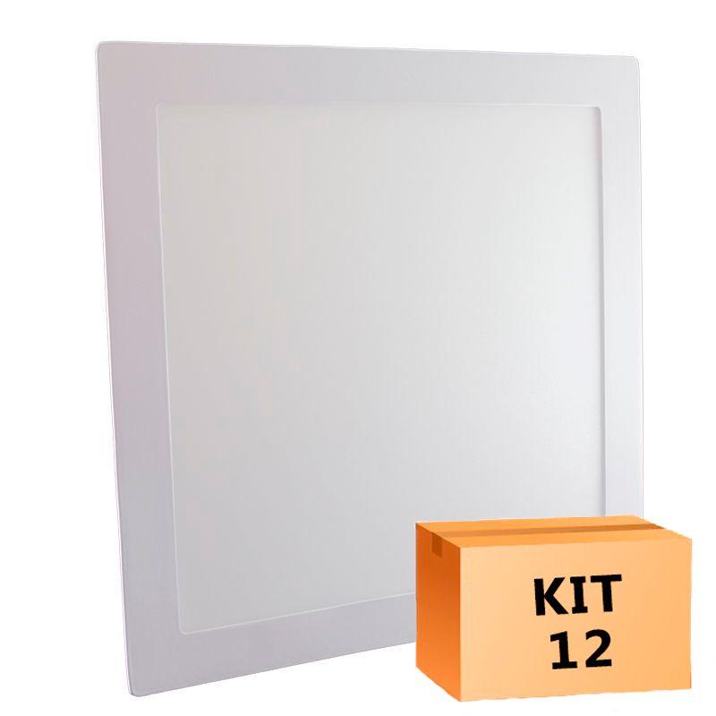 Kit 12 Plafon Led de Embutir Quadrado  24W - 30 x 30 cm Quente 3000K