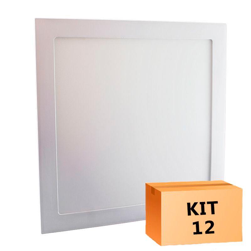 Kit 12 Plafon Led de Embutir Quadrado  32W - 30 x 30 cm Quente 3000K