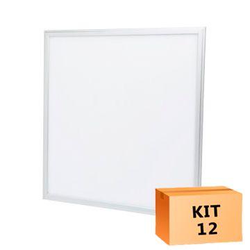 Kit 12 Plafon Led de Embutir Quadrado  36W - 40 x 40 cm Branco Frio 6000K
