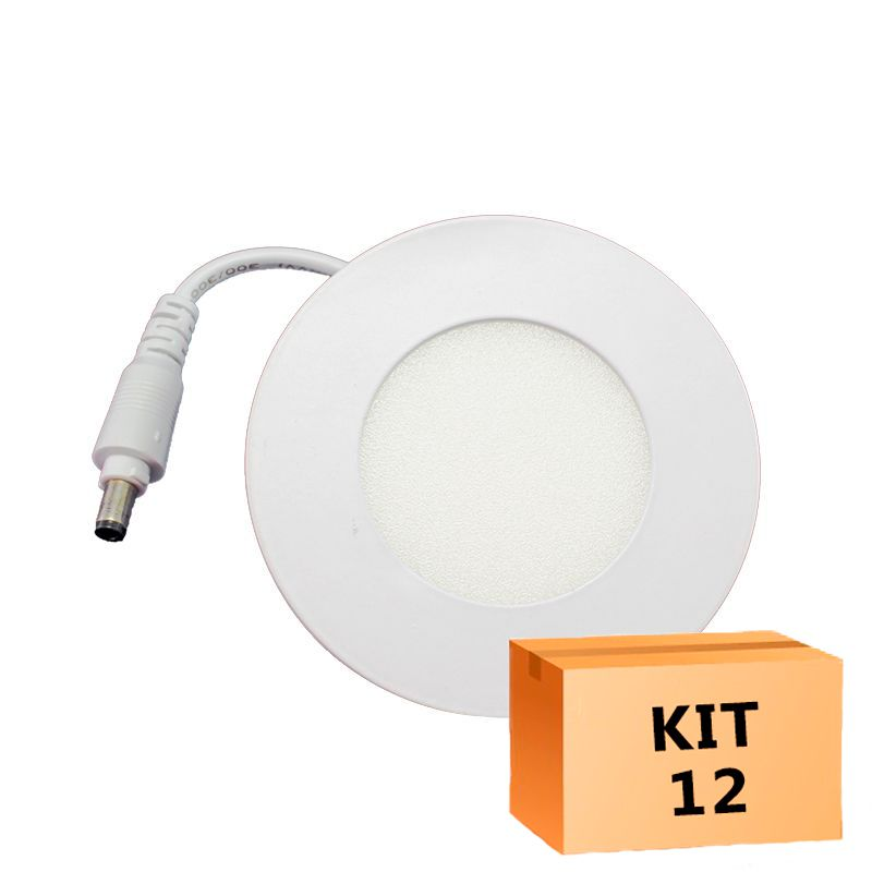 Kit 12 Plafon Led de Embutir Redondo  03W - 08 cm Quente 3000K