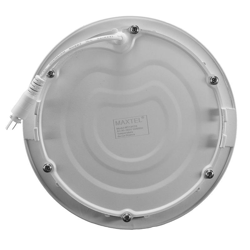 Kit 12 Plafon Led de Embutir Redondo  12W - 17,5 cm Branco Frio 6000K
