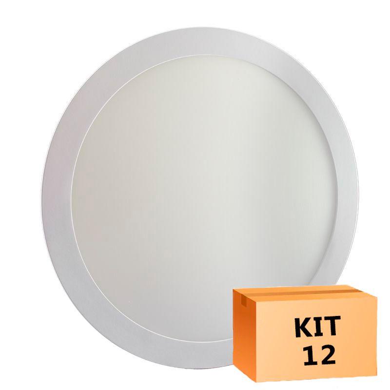 Kit 12 Plafon Led de Embutir Redondo  24W - 30 cm Branco Frio 6000K
