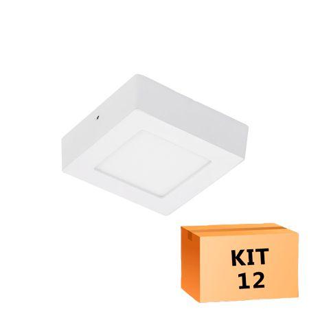 Kit 12 Plafon Led de Sobrepor Quadrado  06W - 12 x 12 cm Branco Frio 6000K