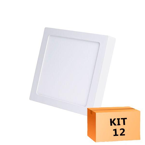 Kit 12 Plafon Led de Sobrepor Quadrado  12W - 17 x 17 cm Quente 3000K