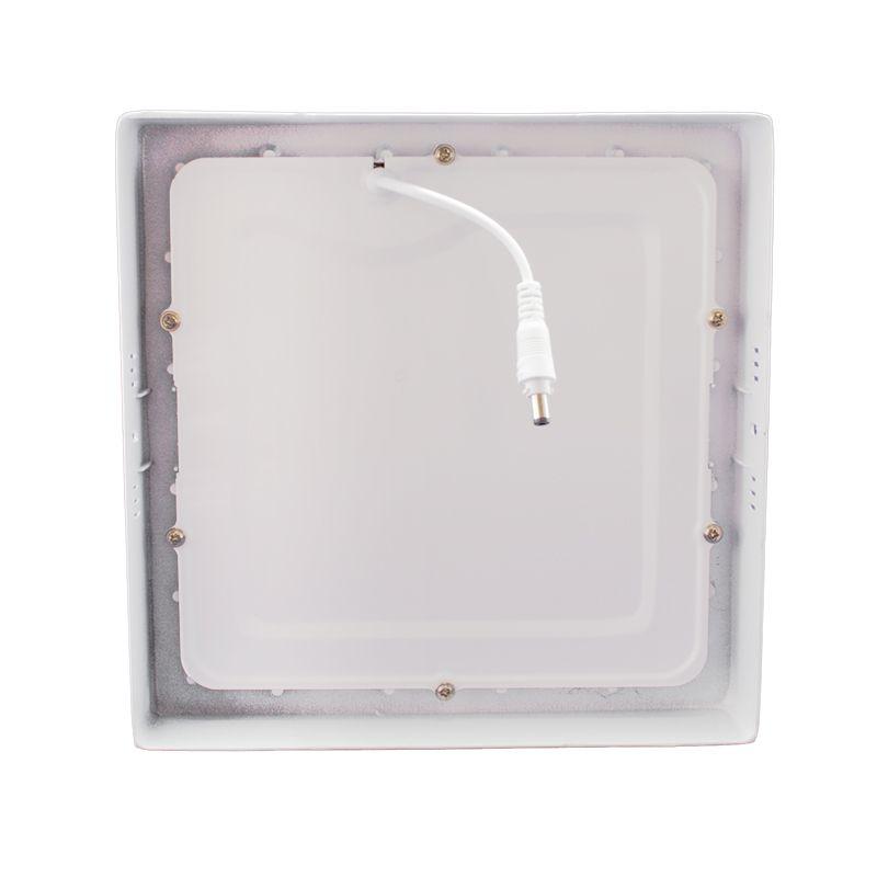 Kit 12 Plafon Led de Sobrepor Quadrado  18W - 22 x 22 cm Quente 3000K