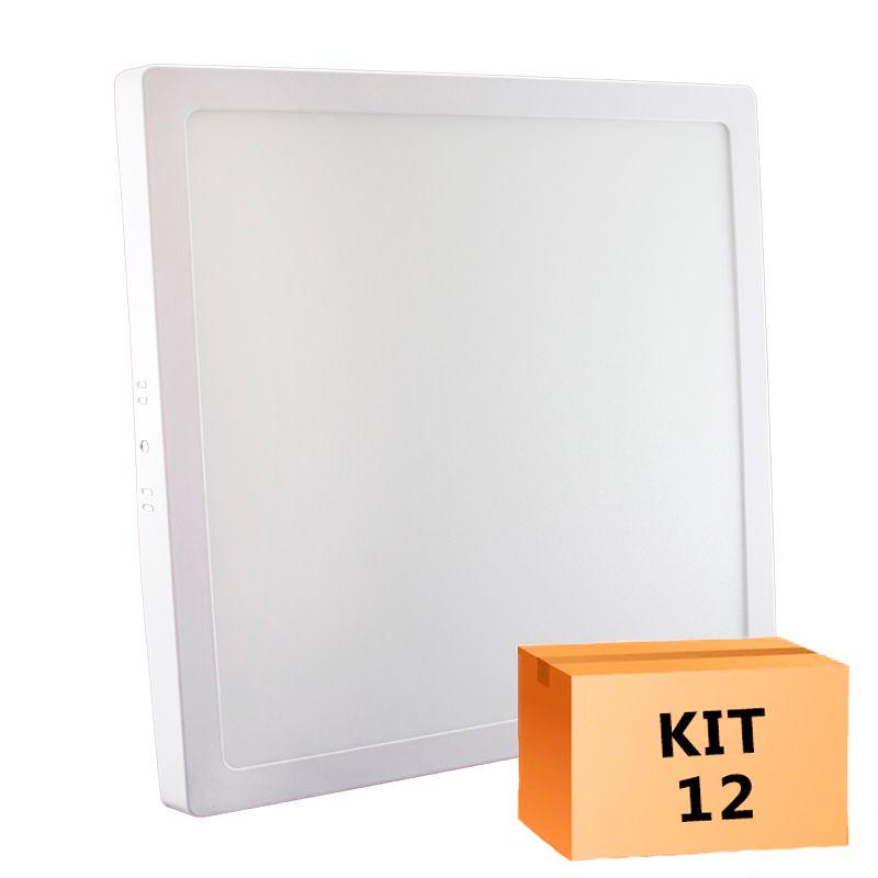 Kit 12 Plafon Led de Sobrepor Quadrado  24W - 30 x 30 cm Quente 3000K