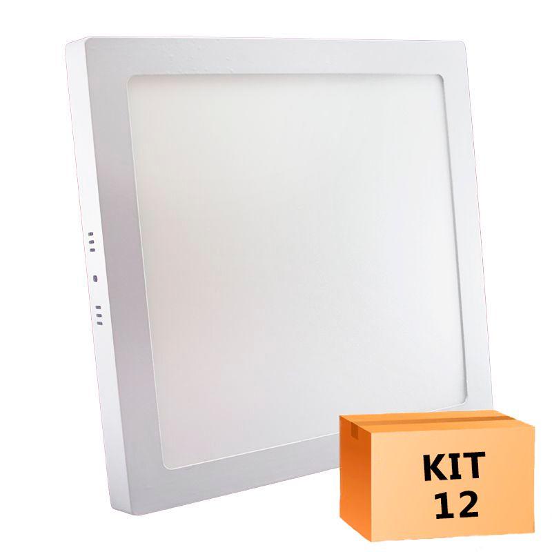 Kit 12 Plafon Led de Sobrepor Quadrado  32W - 30 x 30 cm Quente 3000K