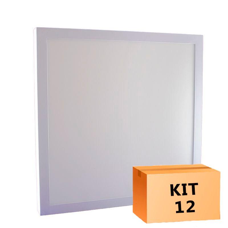 Kit 12 Plafon Led de Sobrepor Quadrado  36W - 40 x 40 cm Branco Frio 6000K