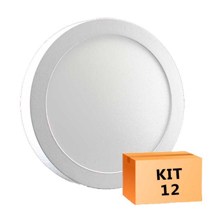 Kit 12 Plafon Led de Sobrepor Redondo  18W - 22 cm Quente 3000K