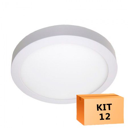 Kit 12 Plafon Led de Sobrepor Redondo  24W - 30 cm Morno 4000K