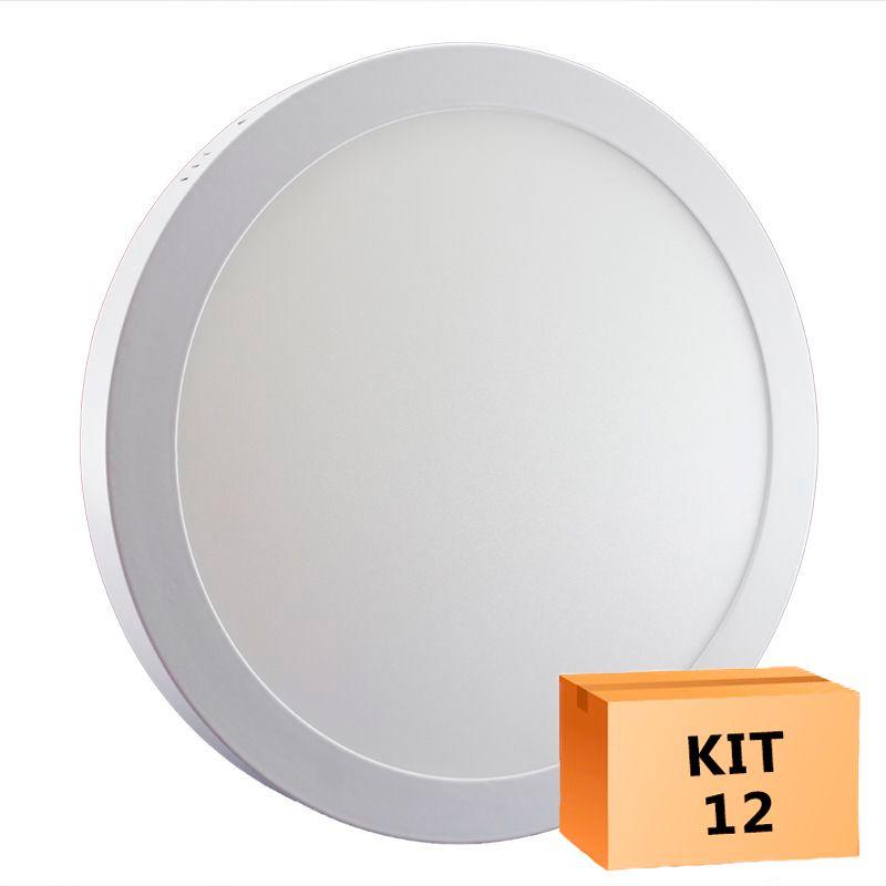 Kit 12 Plafon Led de Sobrepor Redondo  32W - 30 cm Branco Quente 3000K