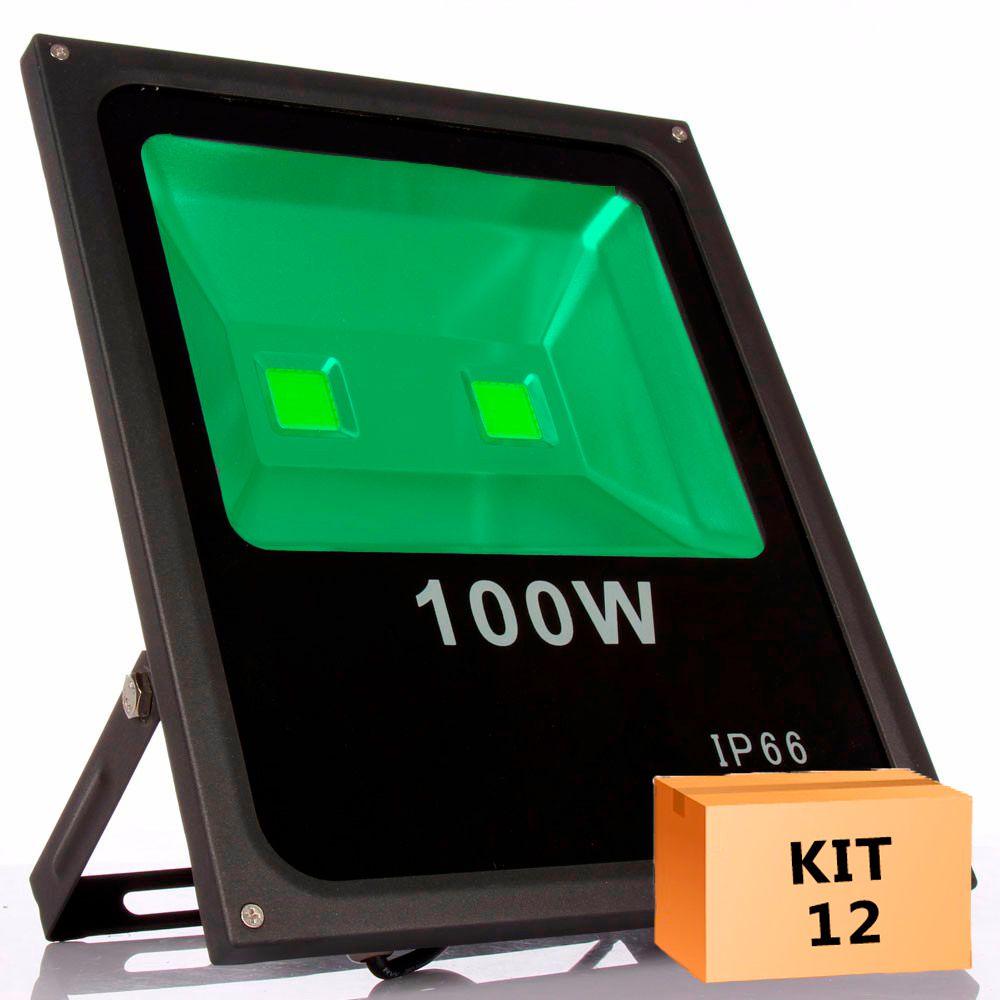 Kit 12 Refletor Led 100W Verde Uso Externo