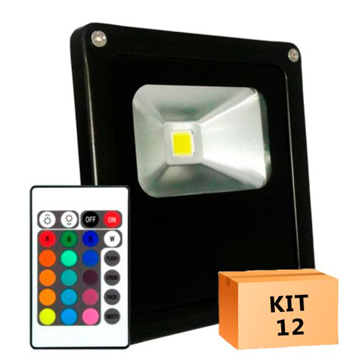 Kit 12 Refletor Led 10W RGB Uso Externo