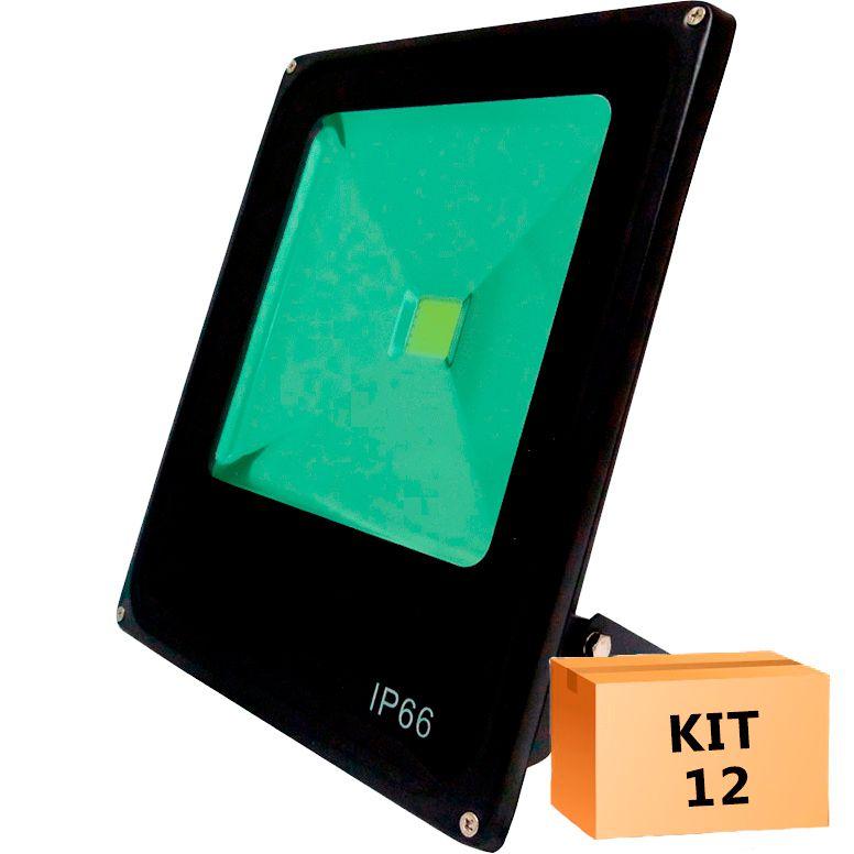 Kit 12 Refletor Led 10W Verde Uso Externo