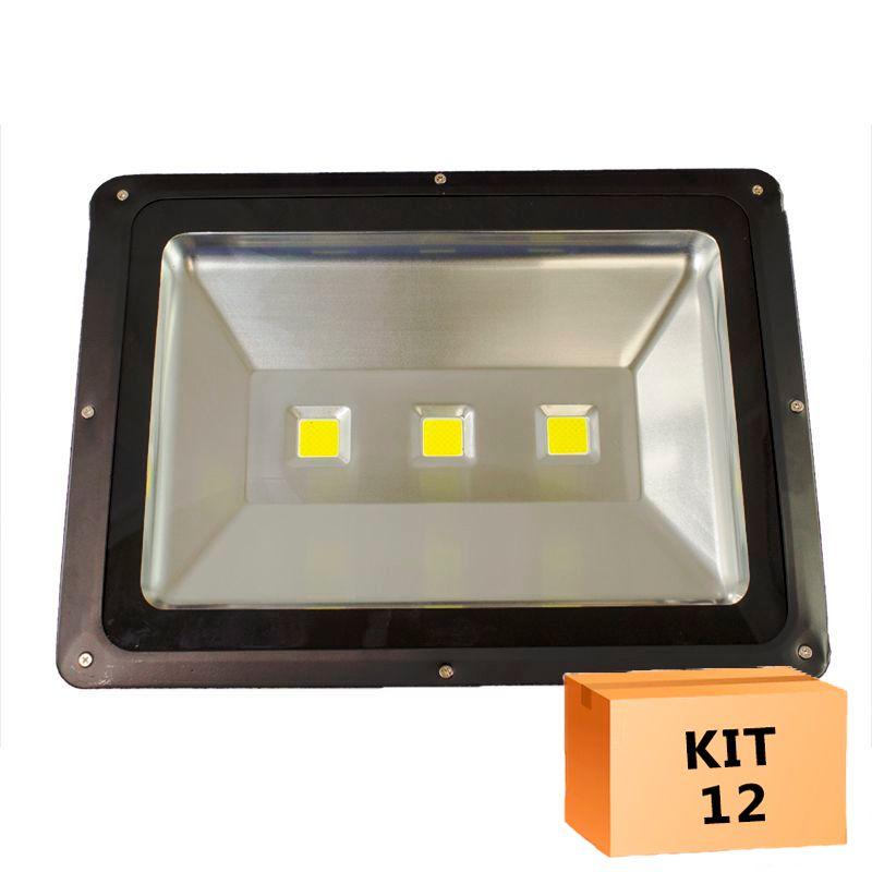 Kit 12 Refletor Led 150W Branco Frio Uso Externo
