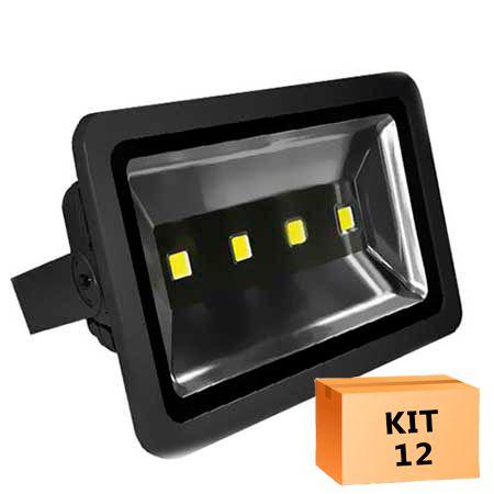Kit 12 Refletor Led 200W Branco Frio Uso Externo