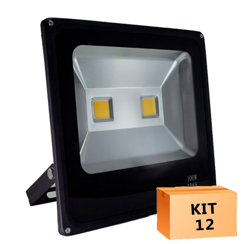 Kit 12 Refletor Led Slim 100W Branco Frio Uso externo