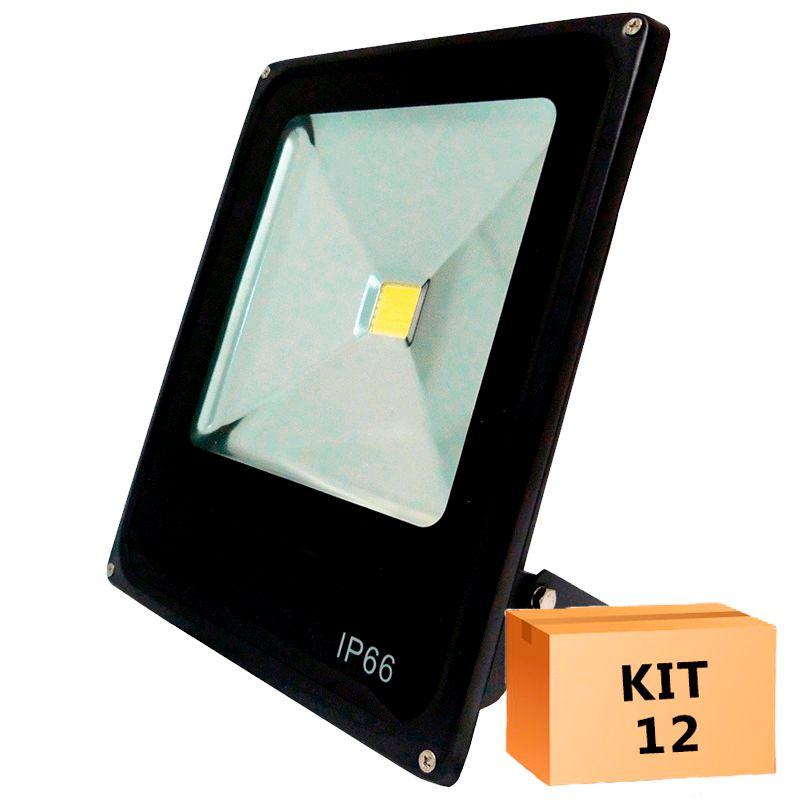 Kit 12 Refletor Led Slim 20W Branco Frio Uso Externo