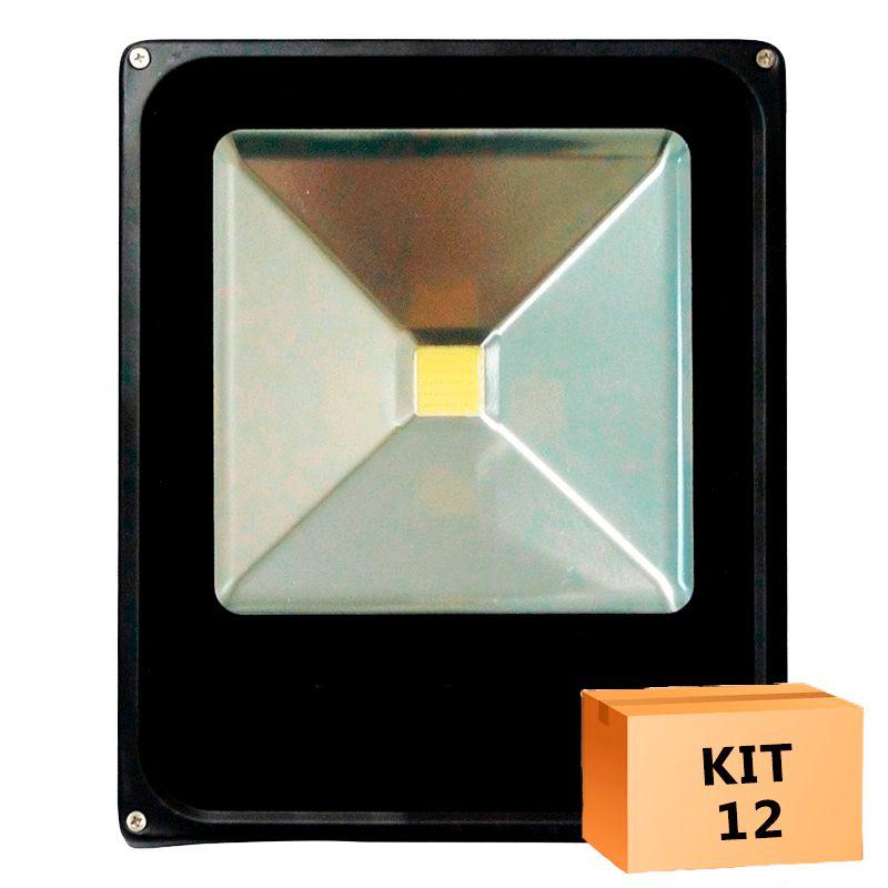 Kit 12 Refletor Led Slim 30W Branco Frio Uso Externo
