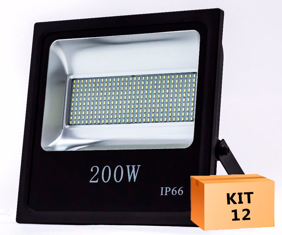 Kit 12 Refletor Led SMD 200W Branco Frio Uso Externo