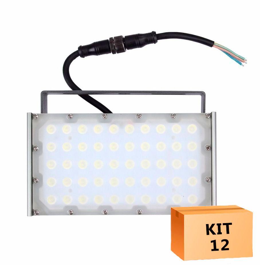 Kit 12 Refletor Modular de LED 50w Branco Frio À Prova D'agua IP68