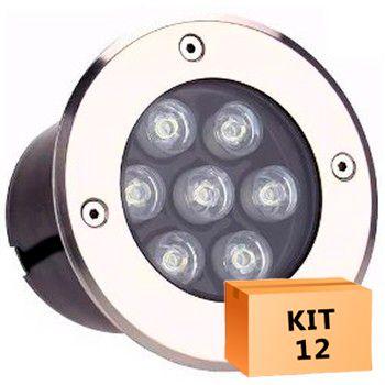 Kit 12 Spot Led Balizador 7w Branco Quente Blindado Embutido para Piso