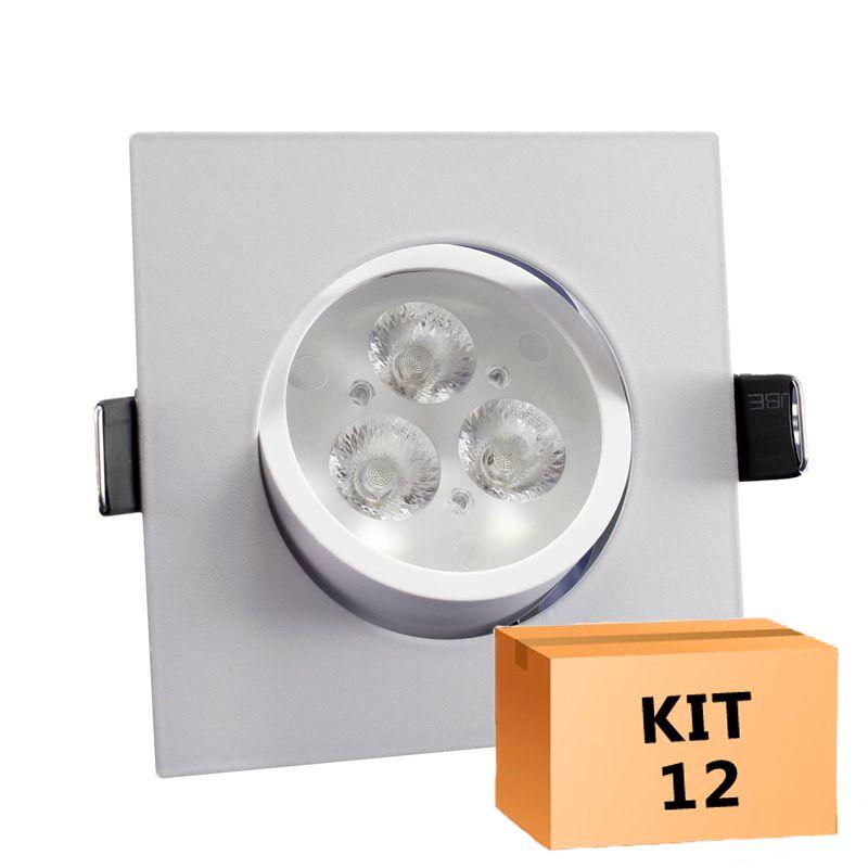 Kit 12 Spot Led direcionável Quadrado 3W Branco Frio 6000K