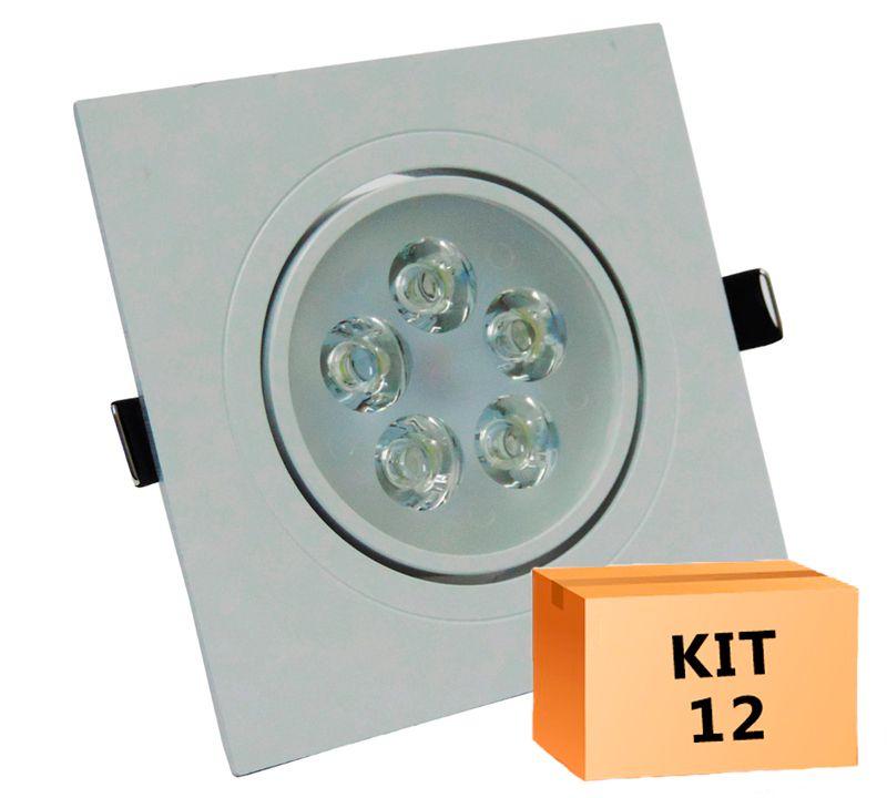 Kit 12 Spot Led direcionável Quadrado 5W Branco Frio 6000K