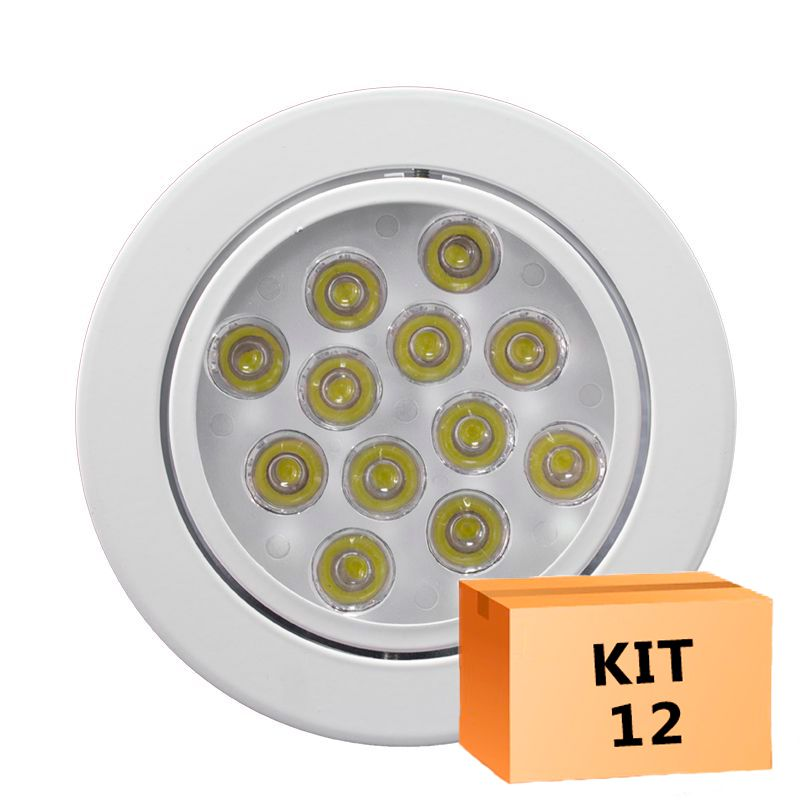 Kit 12 Spot Led Direcionável Redondo 12W Branco Frio 6000K