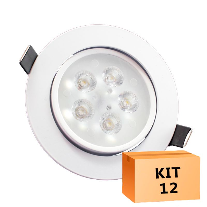 Kit 12 Spot Led Direcionável Redondo 5W Branco Frio 6000K