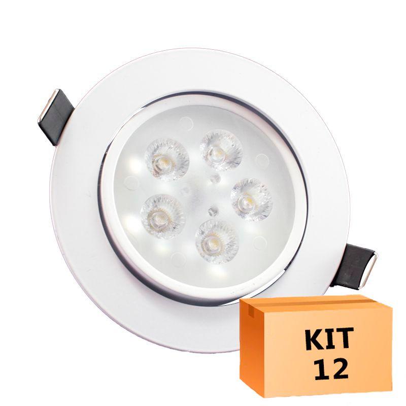 Kit 12 Spot Led Direcionável Redondo 5W Quente 3000K