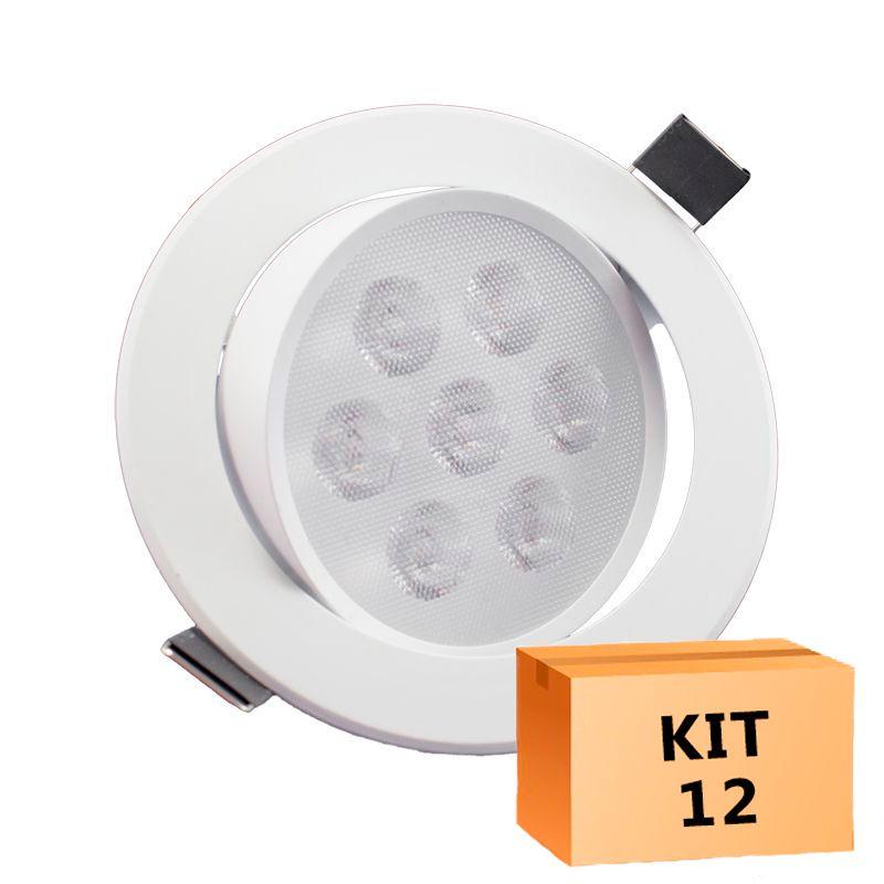 Kit 12 Spot Led Direcionável Redondo 7W Quente 3000K