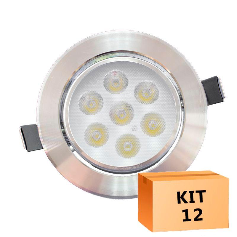 Kit 12 Spot Led Prata Direcionável Redondo 7W Quente 3000K