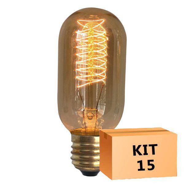 Kit 15 Lâmpada de Filamento de Carbono T45 Squirrel Cage 40W 110V