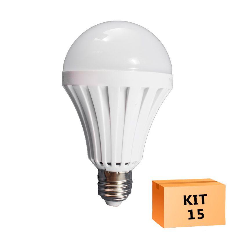 Kit 15 Lâmpada Led Bulbo 09W Branco Quente