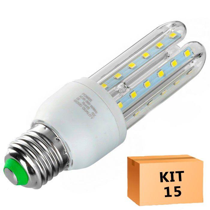 Kit 15 Lâmpada Led Milho 07W Branco Quente