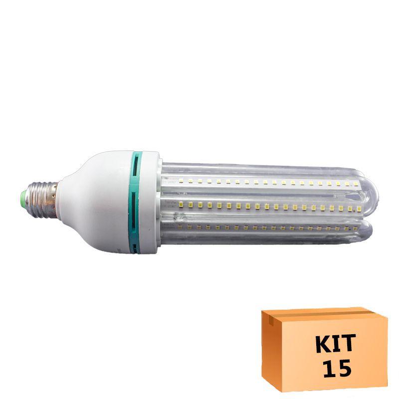 Kit 15 Lâmpada Led Milho 24W Branco Quente