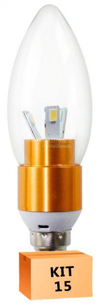 Kit 15 Lâmpada Led Vela 03W Soquete E14 Branco Frio