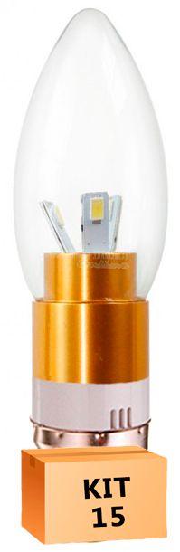 Kit 15 Lâmpada Led Vela 03W Soquete E27 Branco Quente